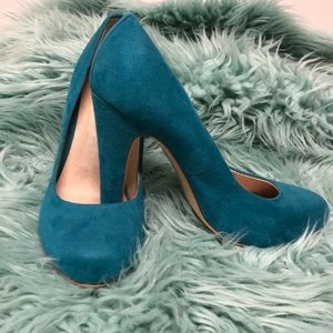 Aldo Teal Suede Shoes/NOT FOR SALE